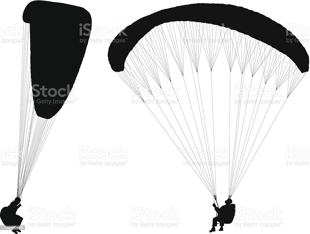 Flying paraglider vector art illustration