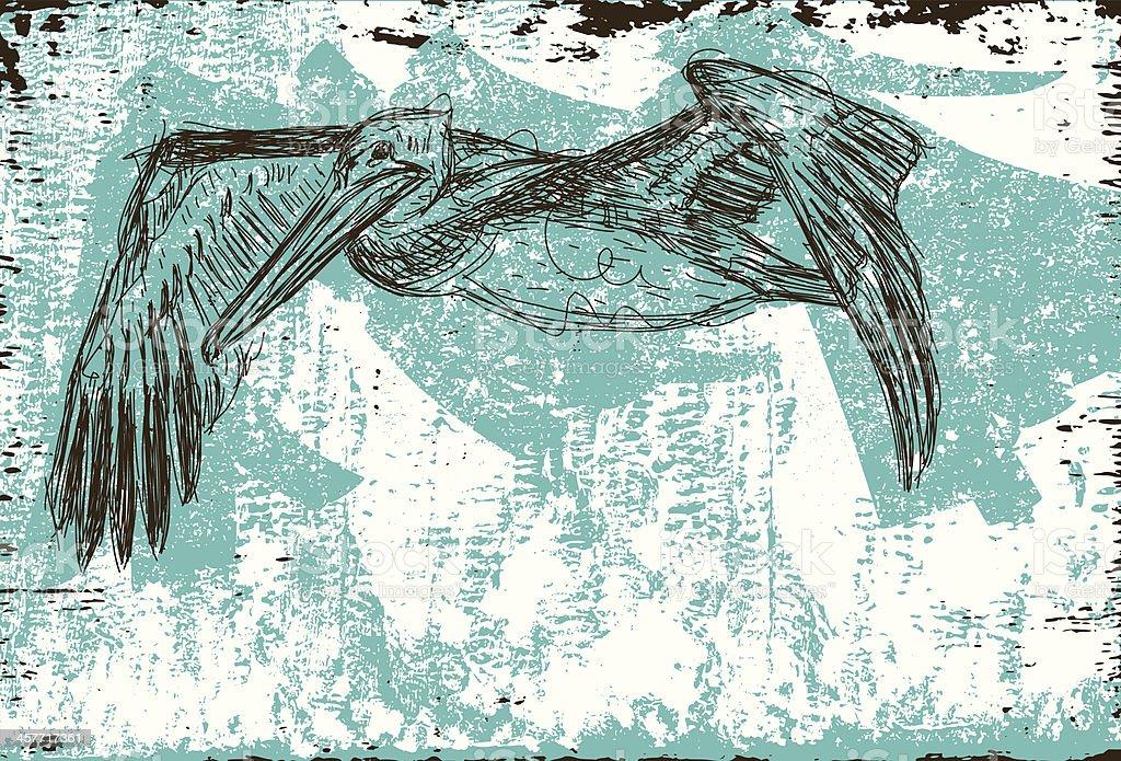 flying pelican vector art illustration