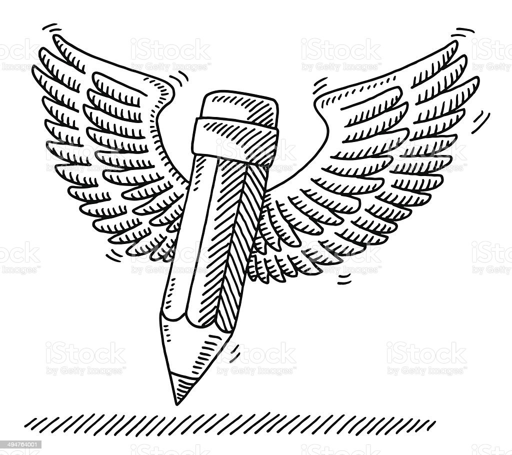 Flying Pencil Wings Drawing royalty-free stock vector art