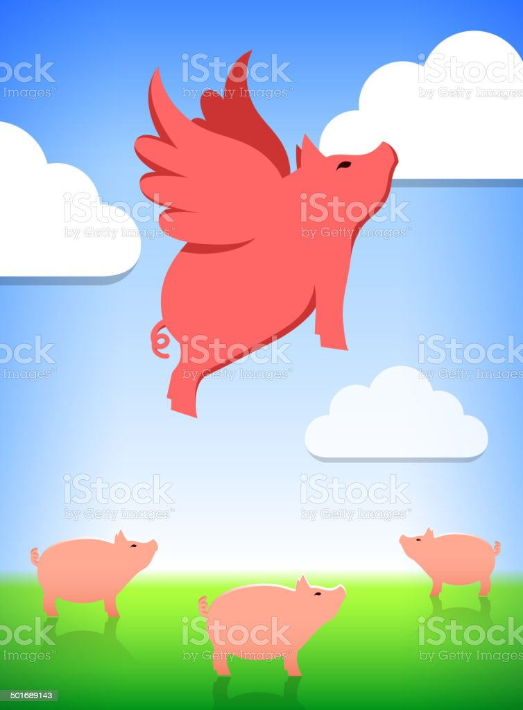 Flying Pig and Livestock royalty-free stock vector art