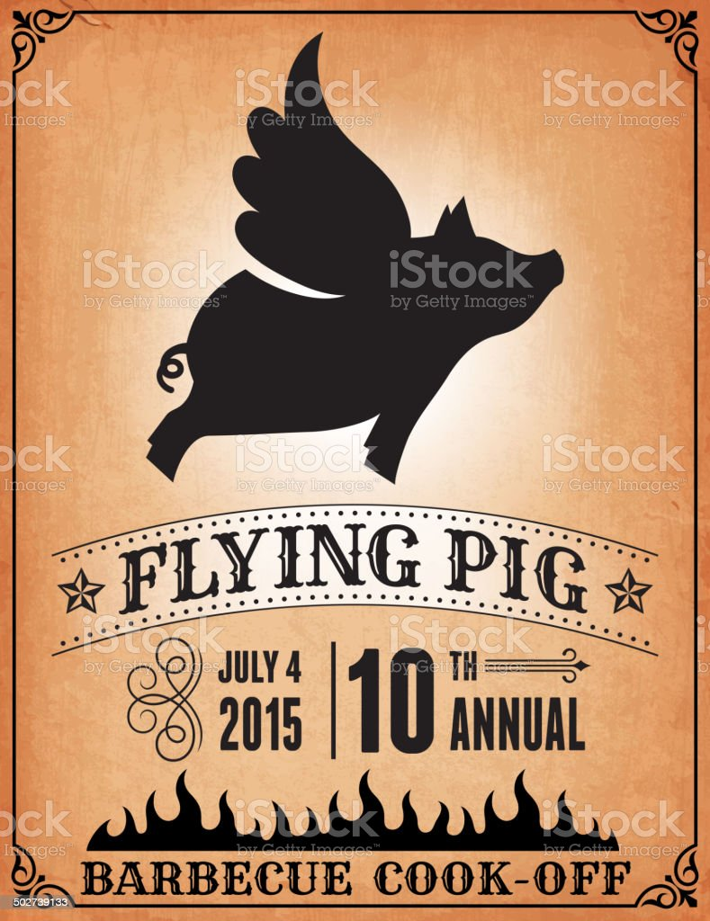 Flying Pig BBQ Cook Off Poster royalty-free vector Background vector art illustration