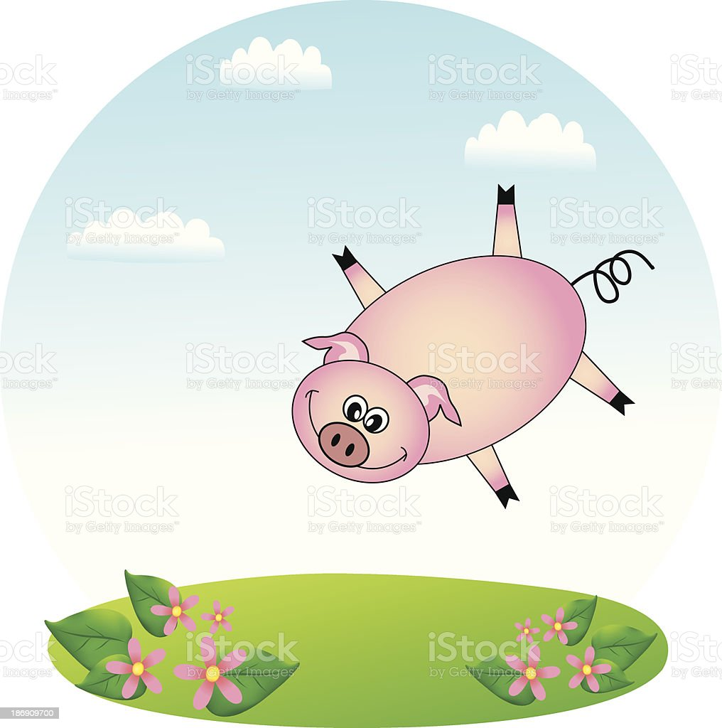 Flying Pig royalty-free stock vector art