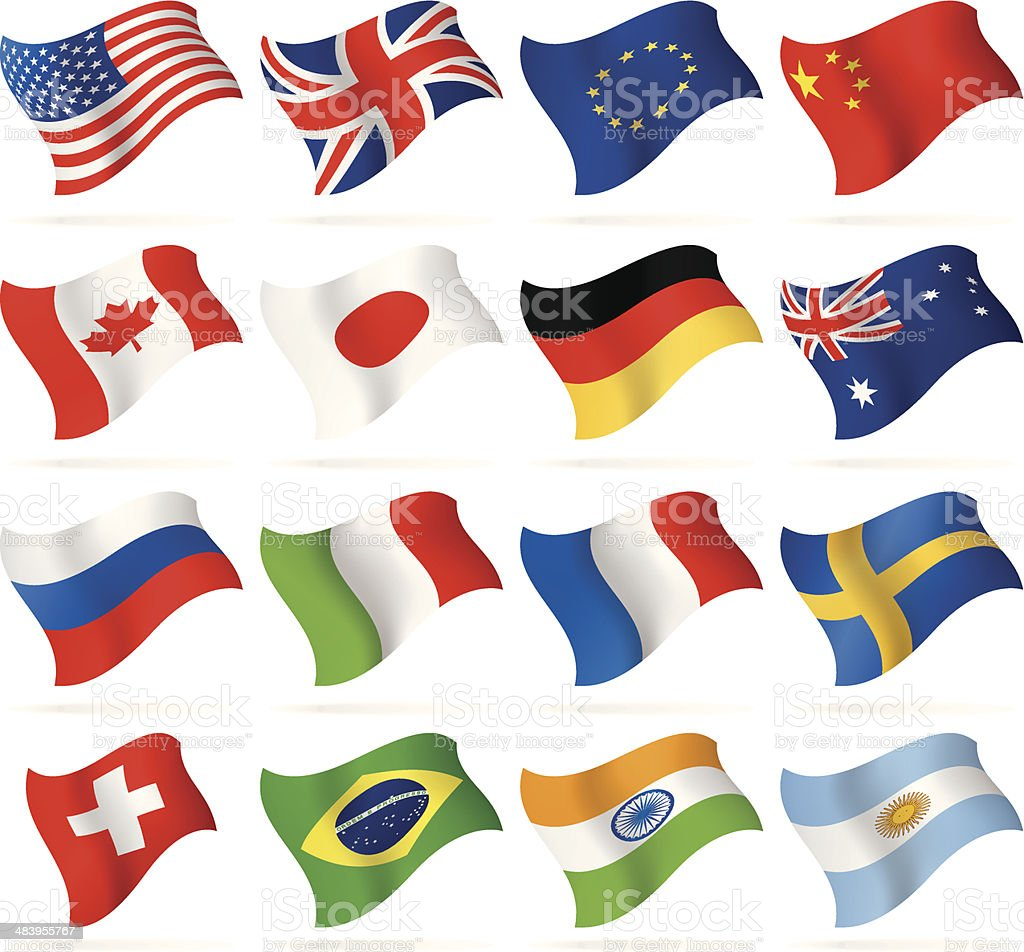 Flying Popular Flags vector art illustration