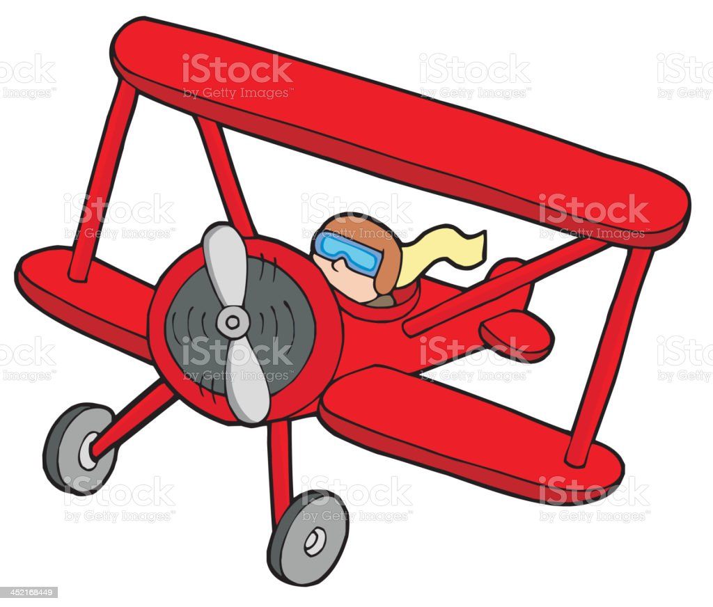 Flying red biplane royalty-free stock vector art