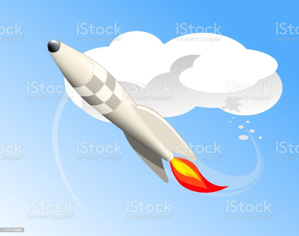 Flying rocket royalty-free stock vector art