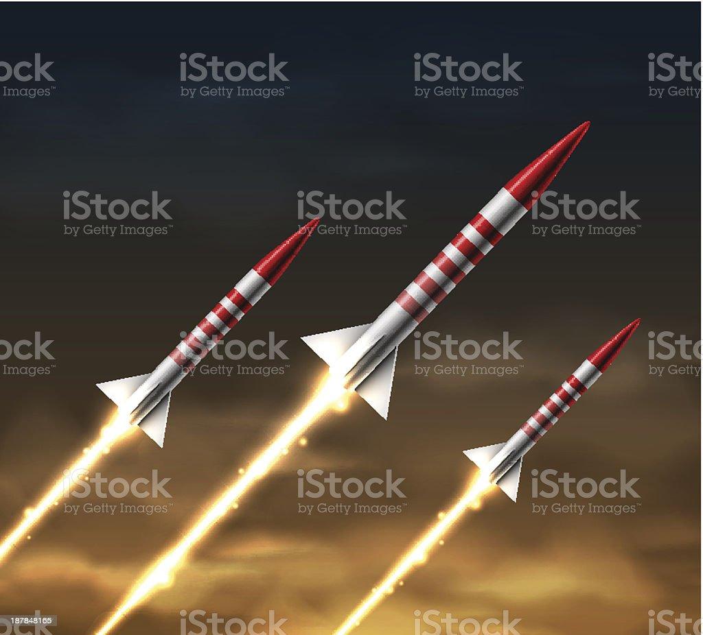 Flying rockets royalty-free stock vector art