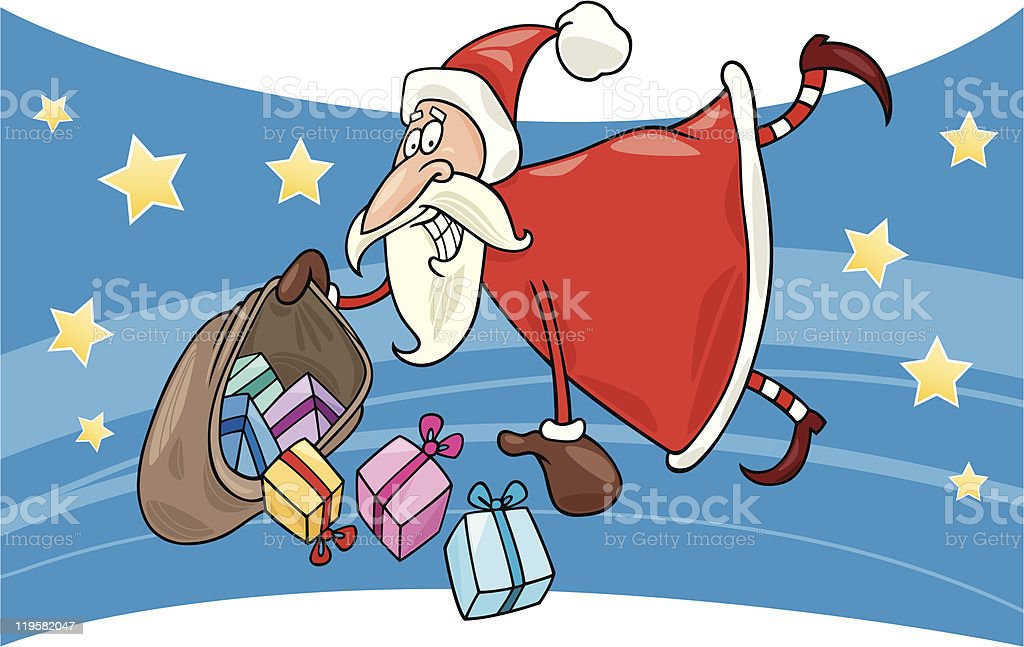 flying santa with gifts royalty-free stock vector art