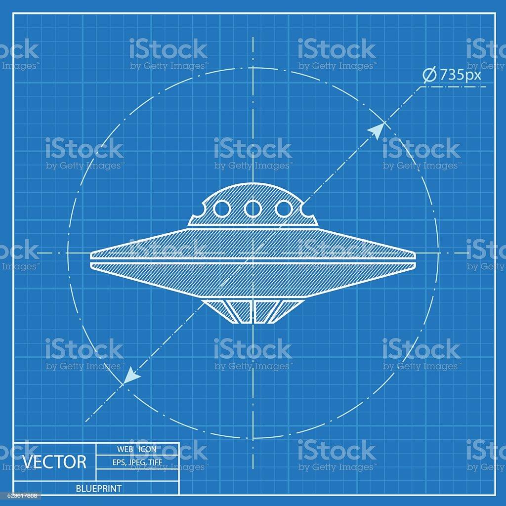 UFO Flying Saucer Icon. Blueprint style vector art illustration