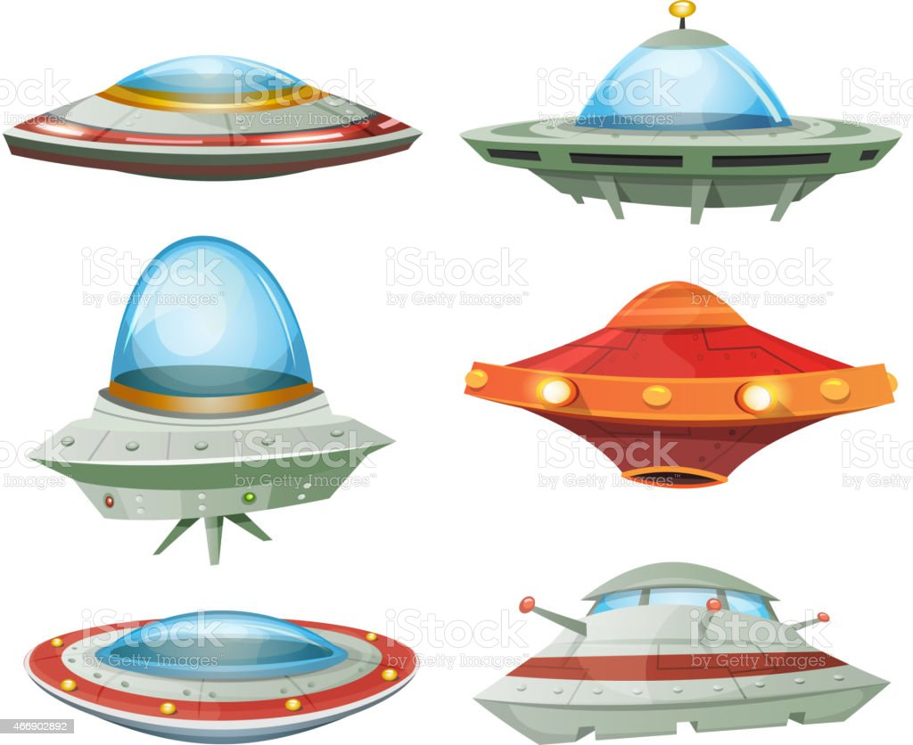 Flying Saucer, Spaceship And UFO Set vector art illustration