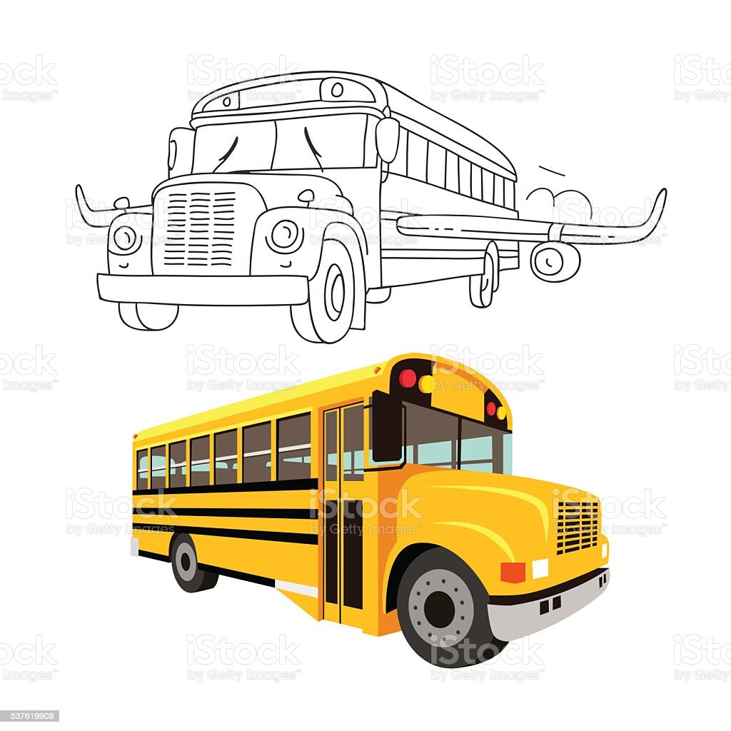 Flying school bus with wings of an airplane. vector art illustration