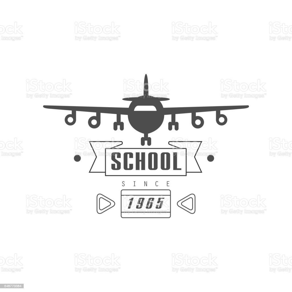 Flying School Emblem Design vector art illustration