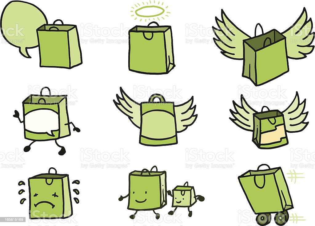 Flying shopping bag doodle icons royalty-free stock vector art