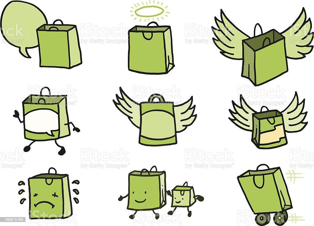 Flying shopping bag doodle icons vector art illustration