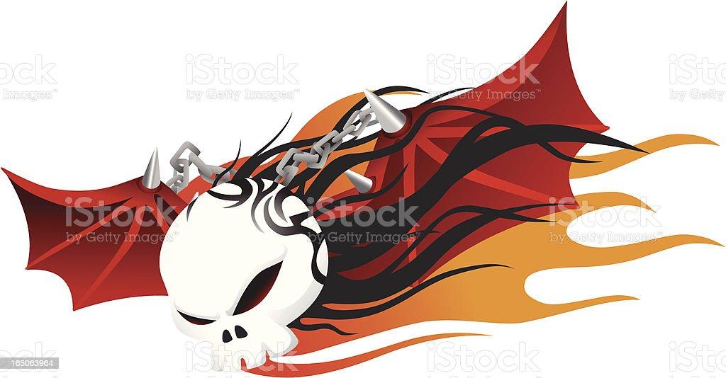 Flying skull royalty-free stock vector art