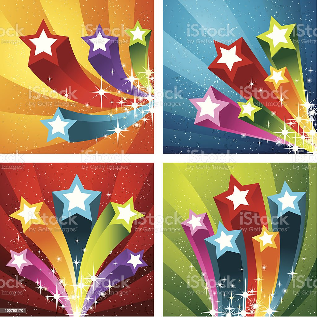 Flying Star Banners royalty-free stock vector art