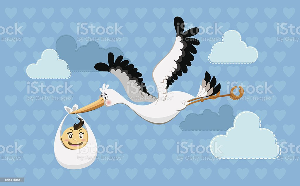 Flying Stork Delivery Baby royalty-free stock vector art