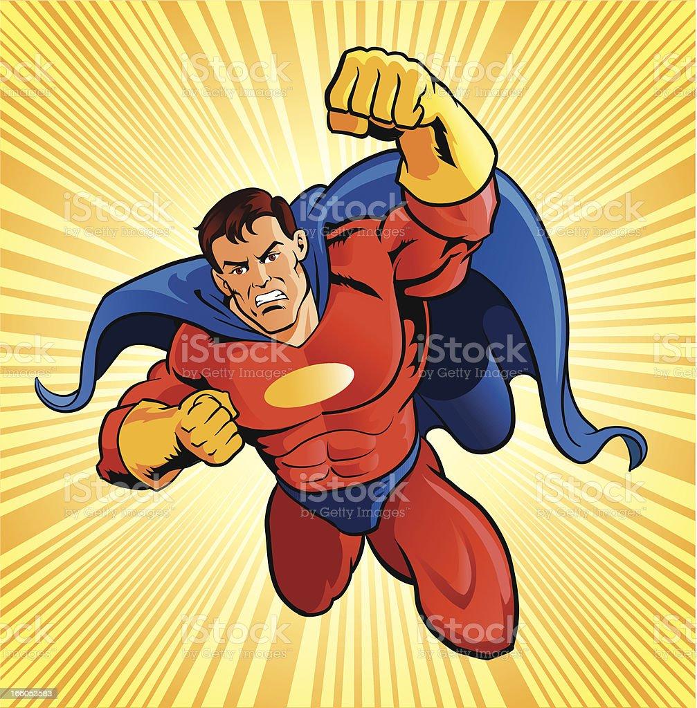 Flying Super Hero vector art illustration