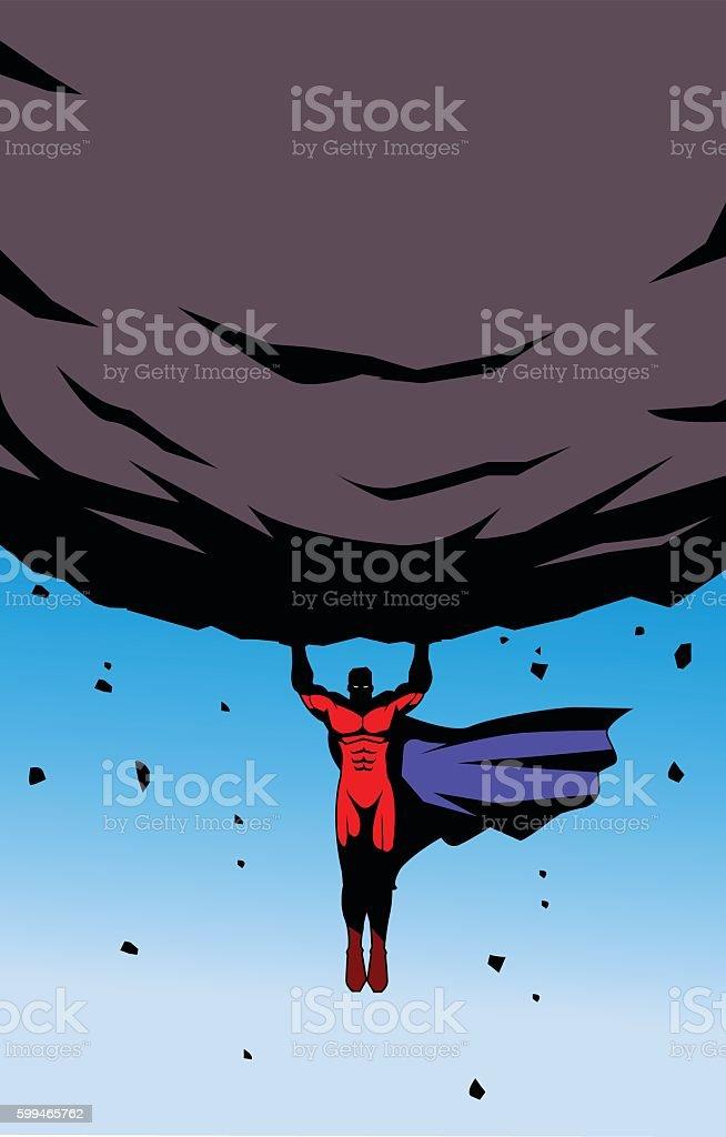 Flying Superhero Lifts a Heavy Rock vector art illustration