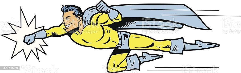 Flying superhero throwing a punch vector art illustration