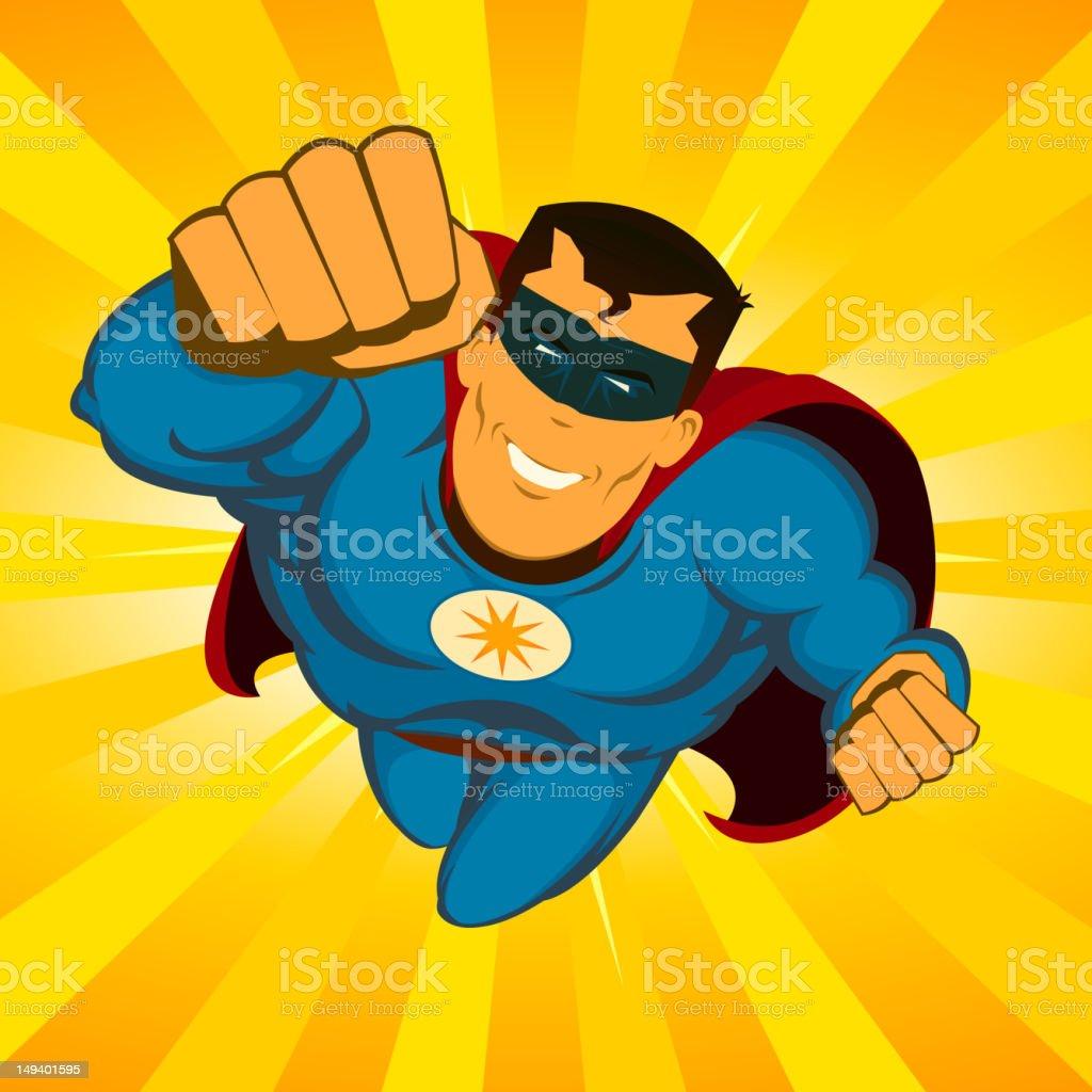 Flying Superhero vector art illustration