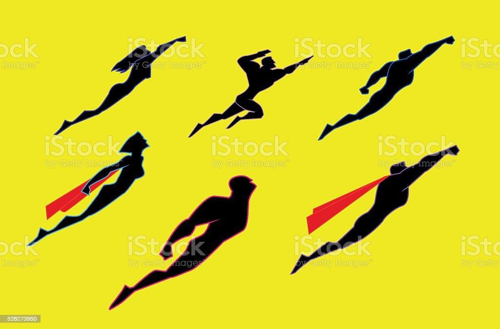 Flying superheroes silhouette set vector art illustration
