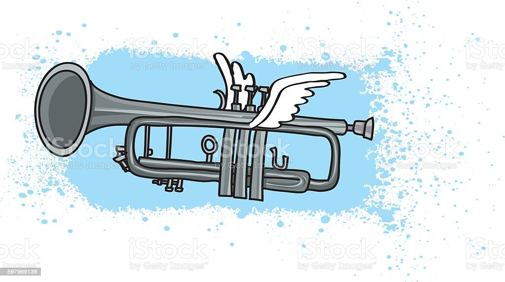 Flying Trumpet Illustration vector art illustration