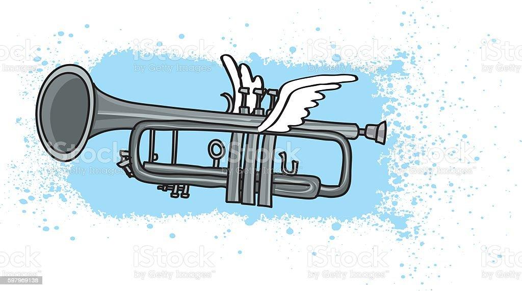 Flying Trumpet Illustration vector art illustration