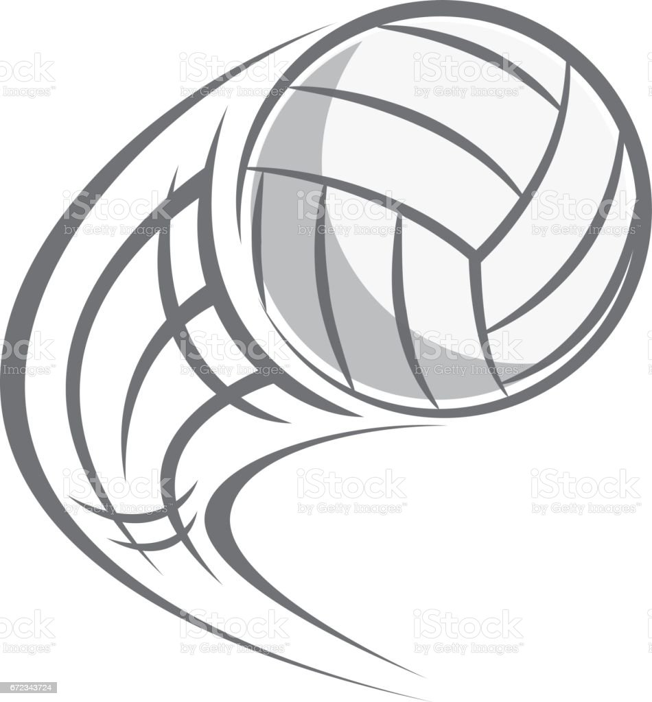flying volley ball isolated on white background vector art illustration