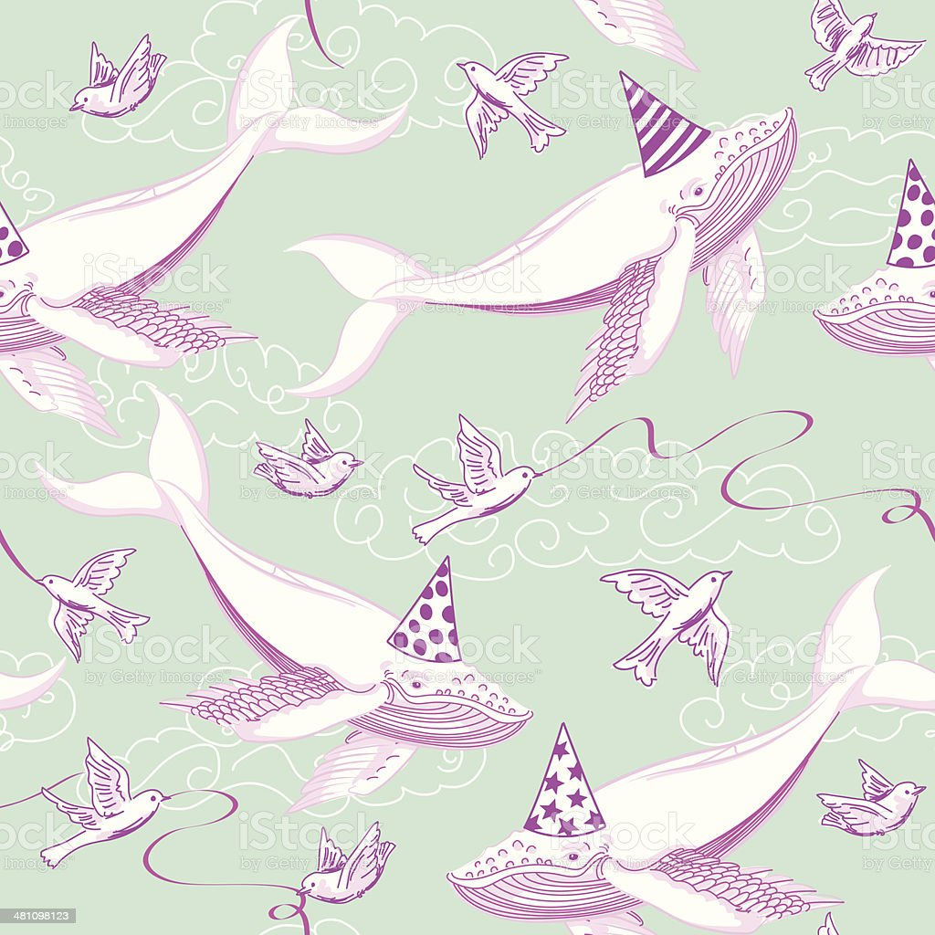 Flying Whale Birthday Party vector art illustration