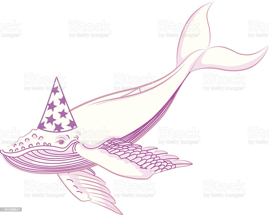 Flying Whale Wearing A Party Hat vector art illustration