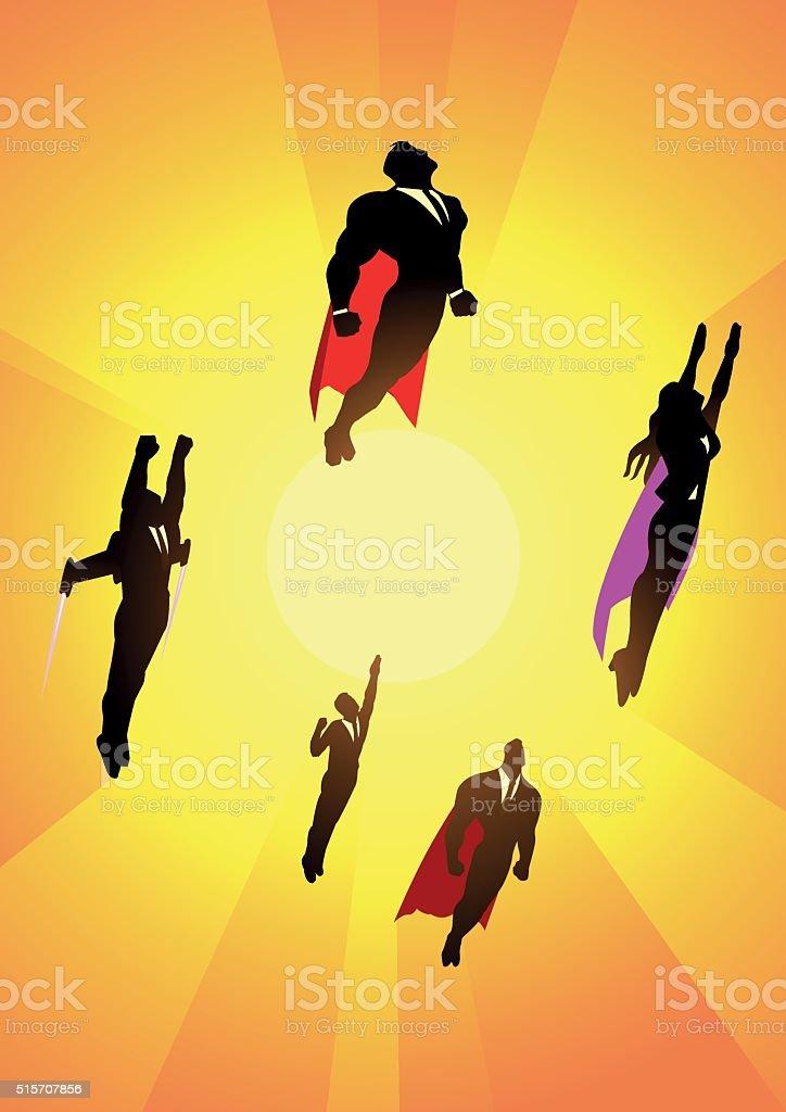 Flying White-collar worker superheroes silhouette vector art illustration