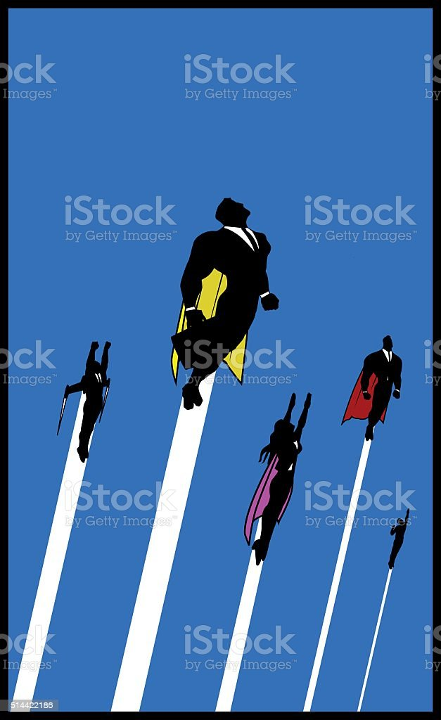 Flying White-collar Workers Superheroes vector art illustration