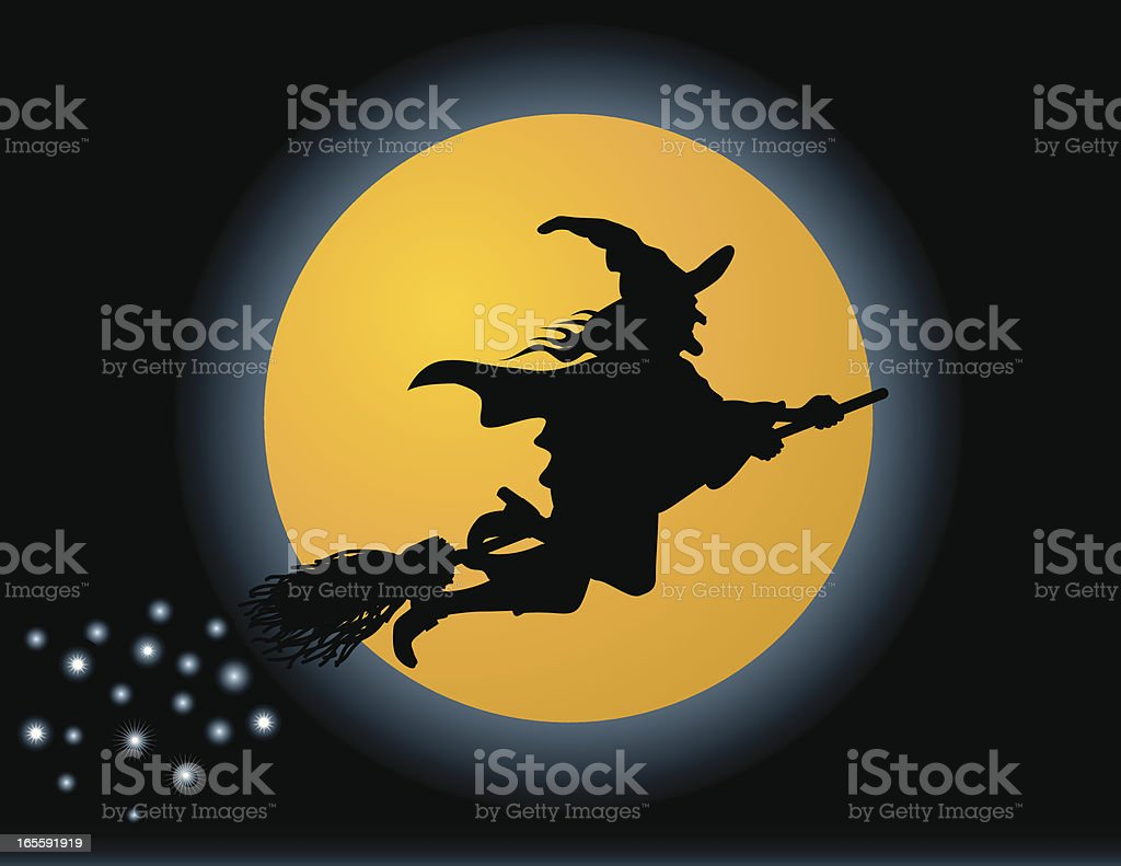 Flying Witch Silhouette royalty-free stock vector art