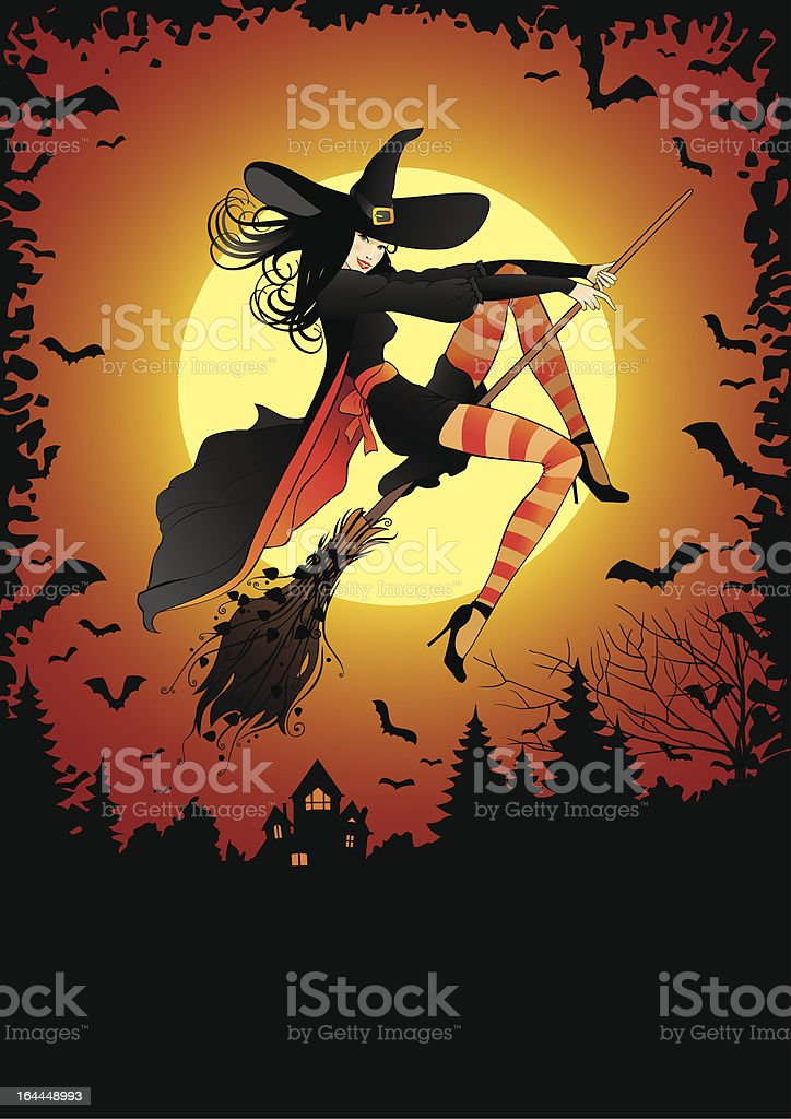 flying witch royalty-free stock vector art