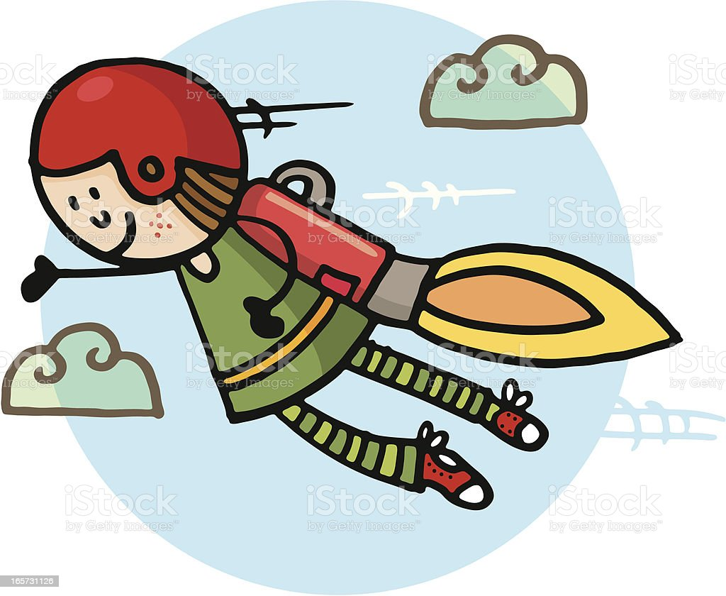 Flying with a rocket pack vector art illustration