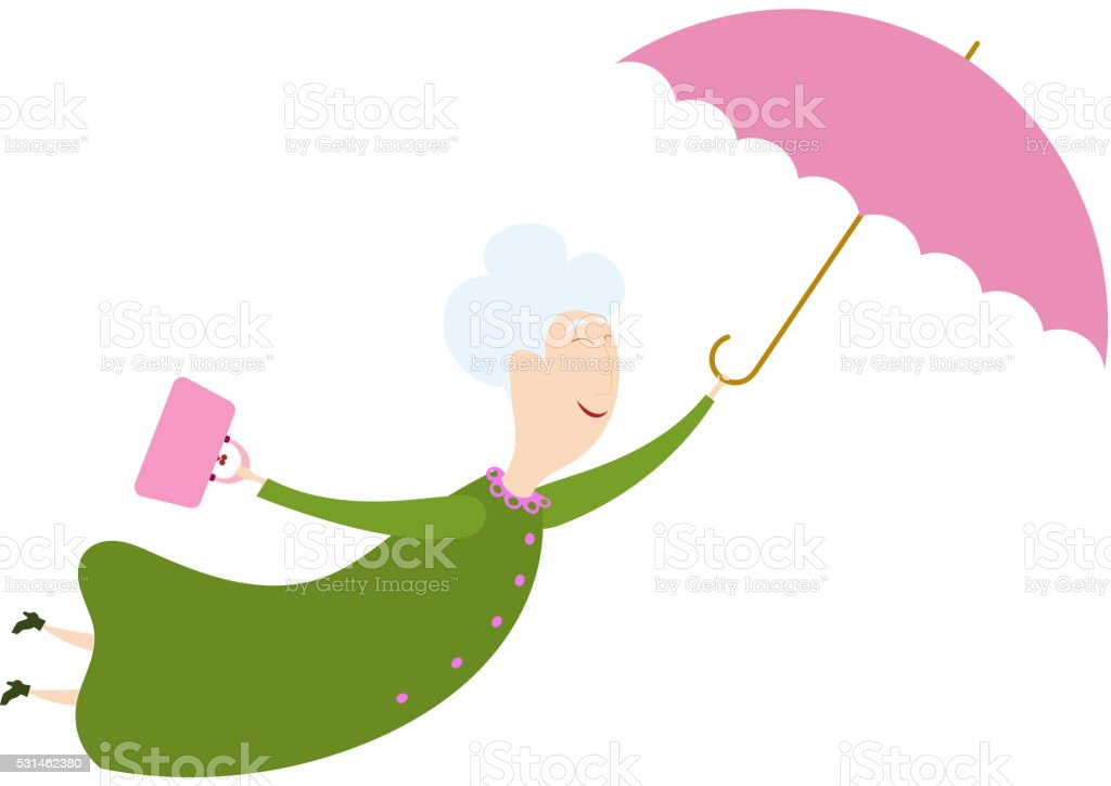 Flying woman with the umbrella.Stock  vector vector art illustration