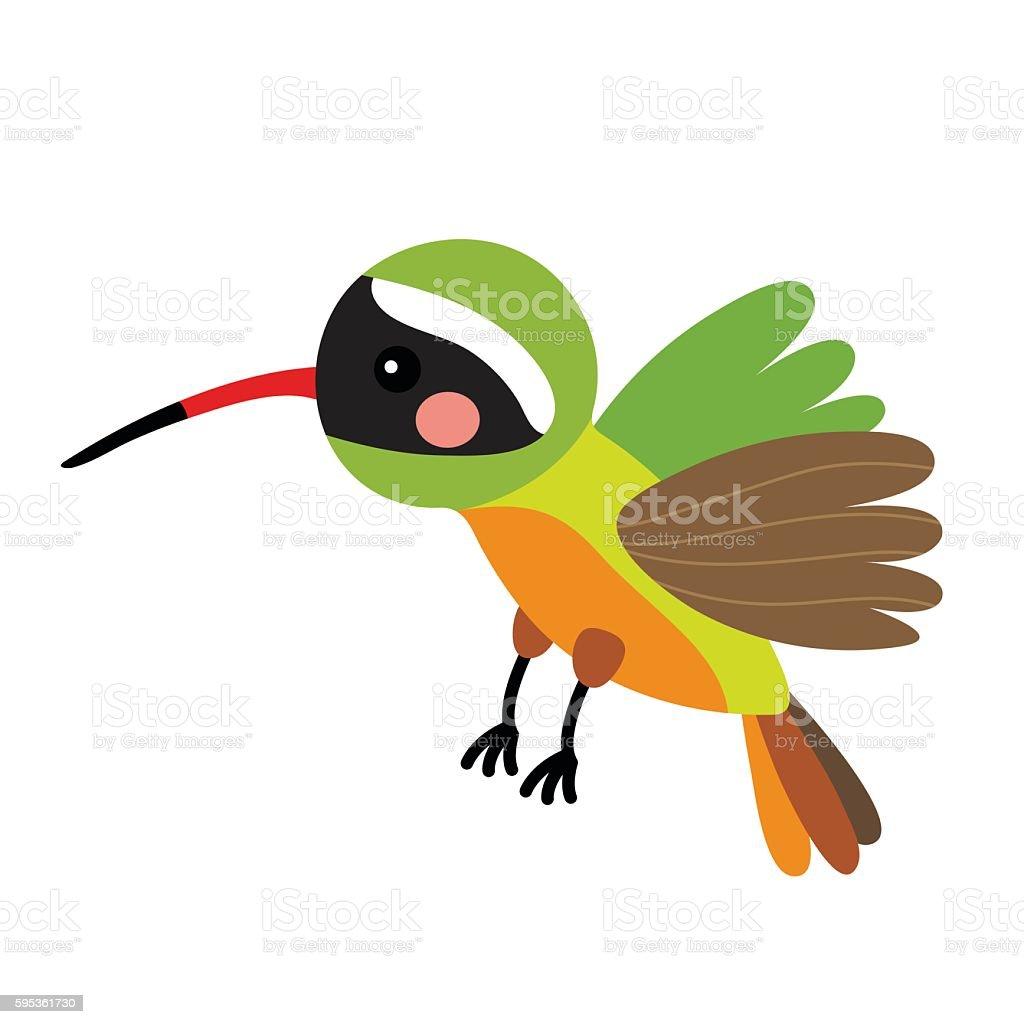 Flying Xantus Hummingbird animal cartoon character vector illustration. vector art illustration