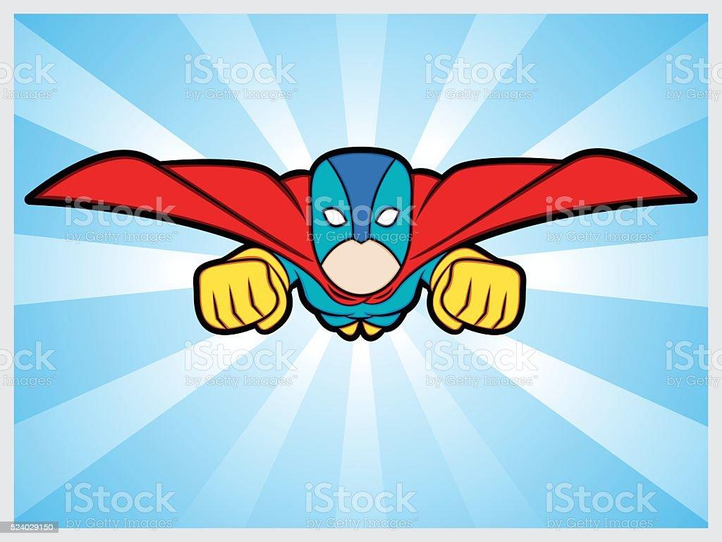 flyng superhero vector art illustration