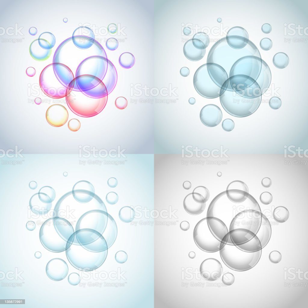 Foam collection vector art illustration