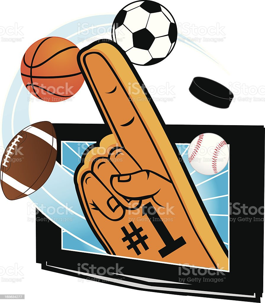 Foam finger coming out of tv with sports balls royalty-free stock vector art