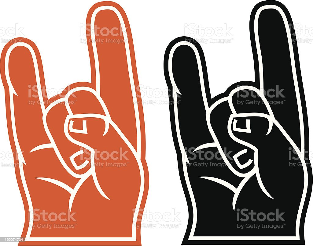 Foam fingers for LongHorns, Rock and Roll royalty-free stock vector art