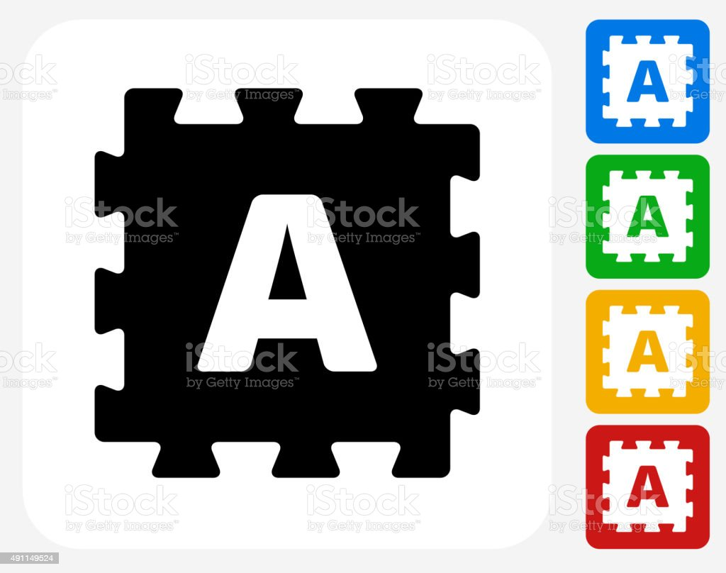 Foam Puzzle Icon Flat Graphic Design vector art illustration