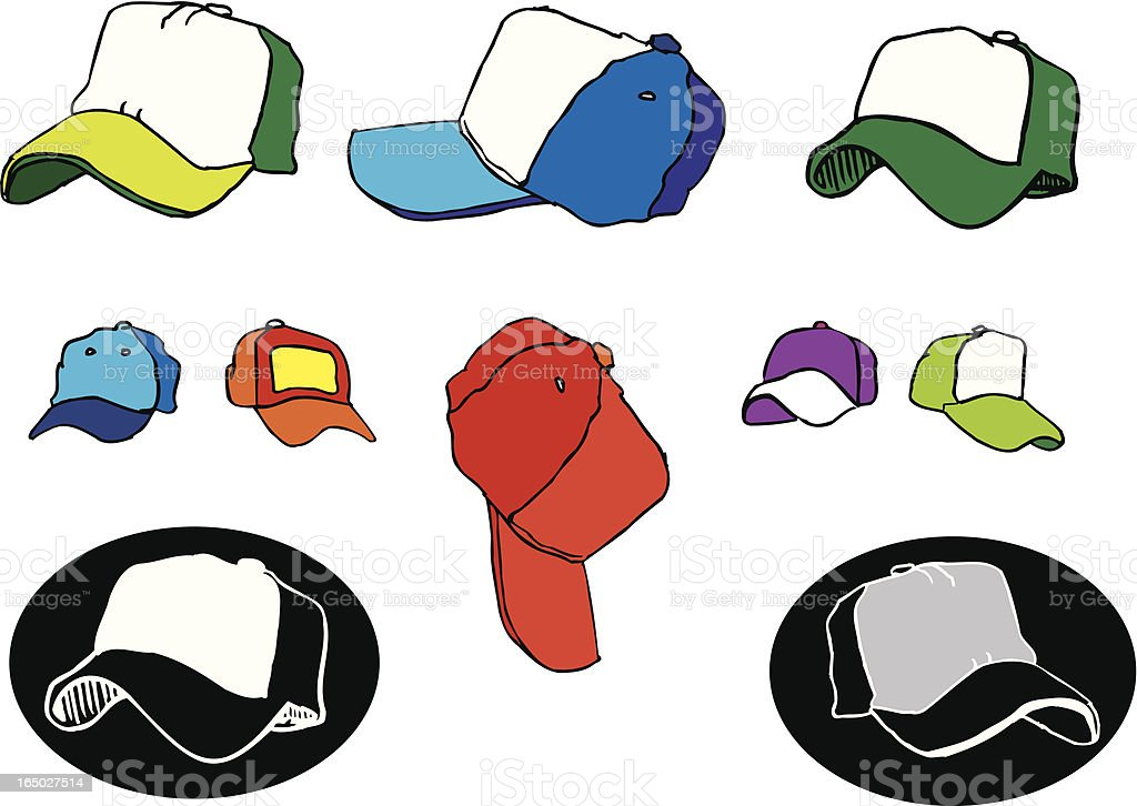 Foam Truck Driver Baseball Hats (illustrations) vector art illustration