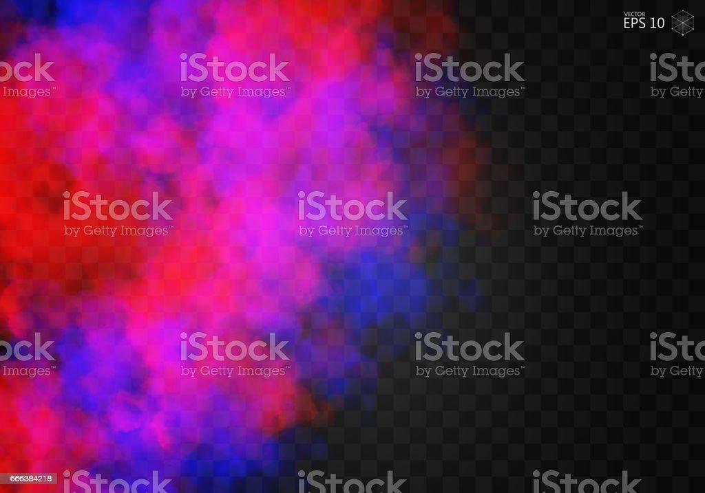 Fog or smoke color isolated transparent special effect. vector art illustration