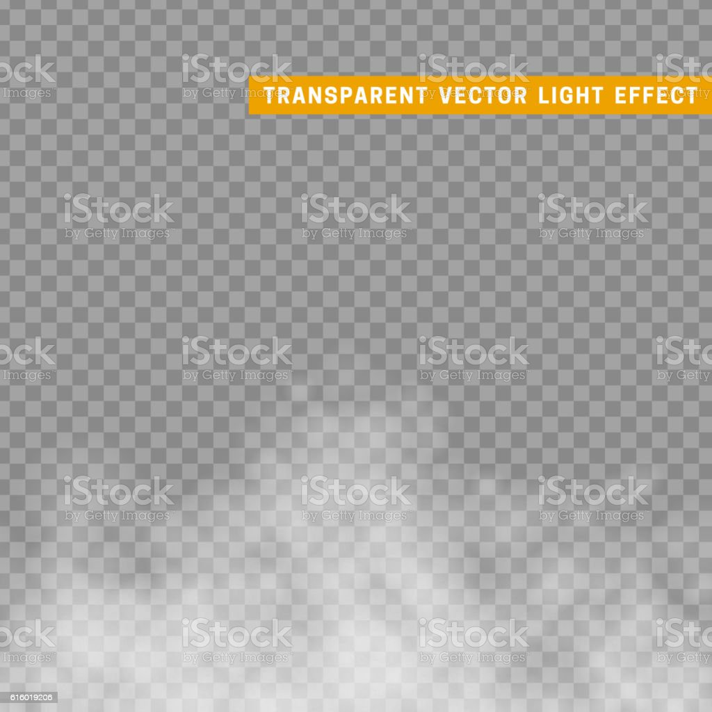 Fog or smoke isolated transparent special effect. vector art illustration