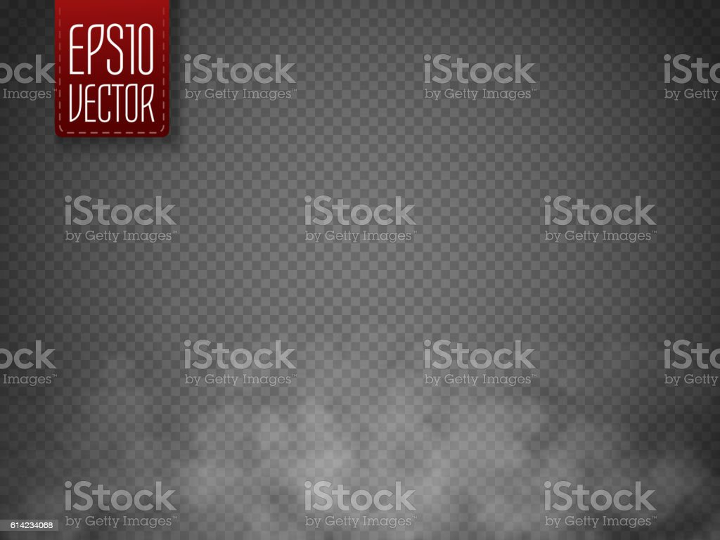 Fog or smoke isolated transparent special effect. White vector cloudiness vector art illustration