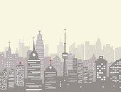 Foggy city skyline