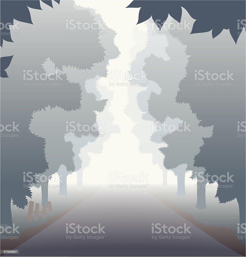 Foggy Country Road vector art illustration