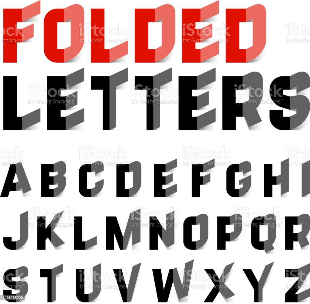Folded alphabet letters vector art illustration