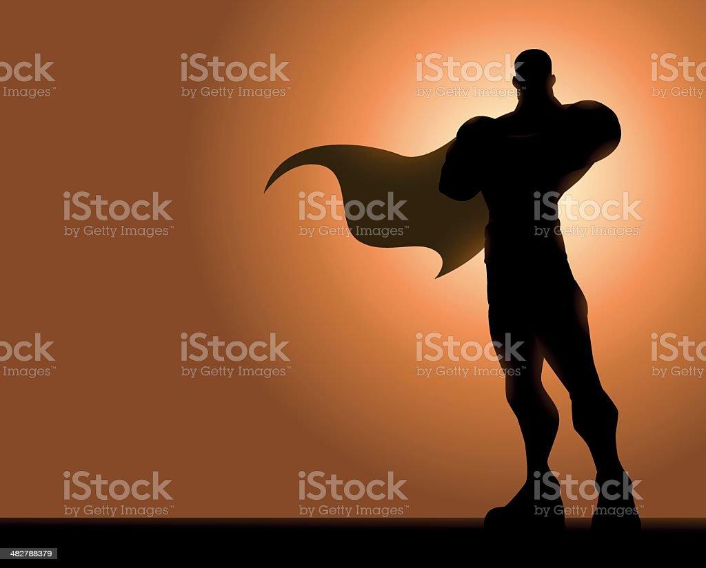 Folded Arm Superhero Silhouette vector art illustration